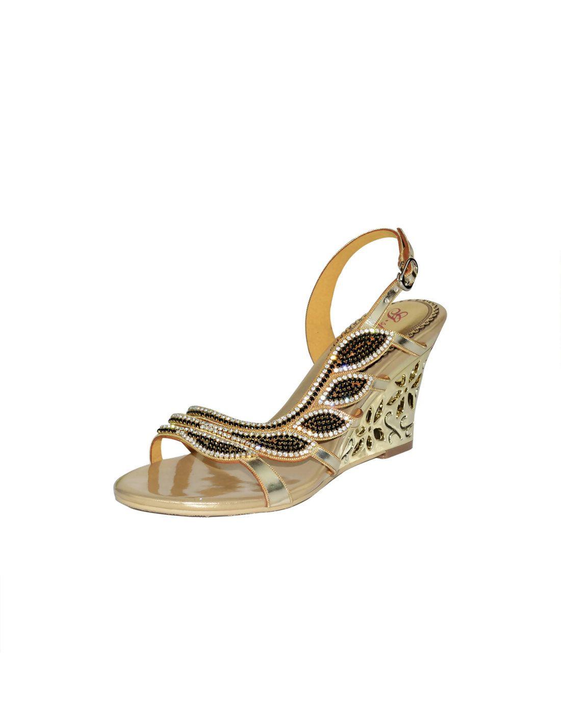 9b0034a6be72  AdoreWe  VIPme (VIPSHOP Global) Mens - G·sparrow Diamond Embellished  Wedge Heel Sandals Open Toe Gold - AdoreWe.com