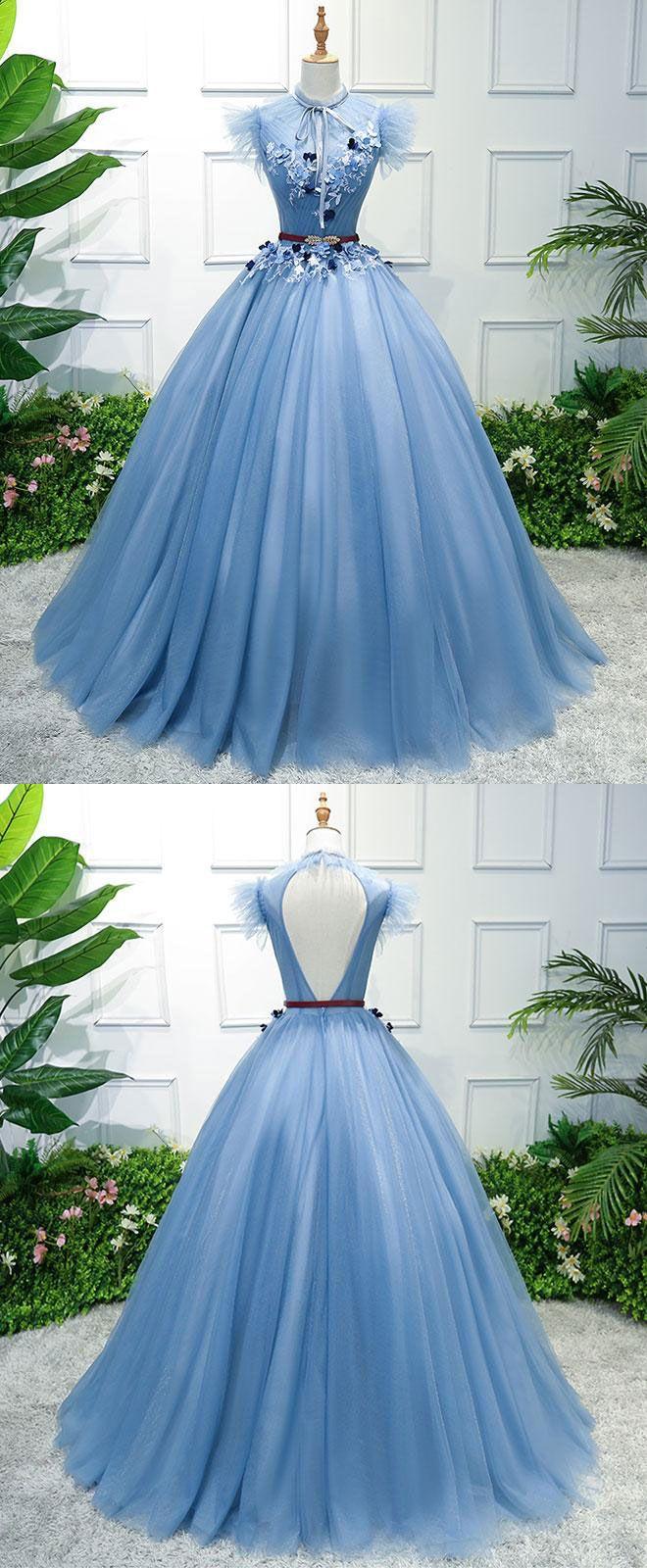 Blue high neck tulle blue long prom dress blue evening dress