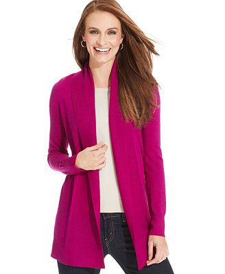 Charter Club Ribbed-Knit Open-Front Merino Wool Cardigan ...