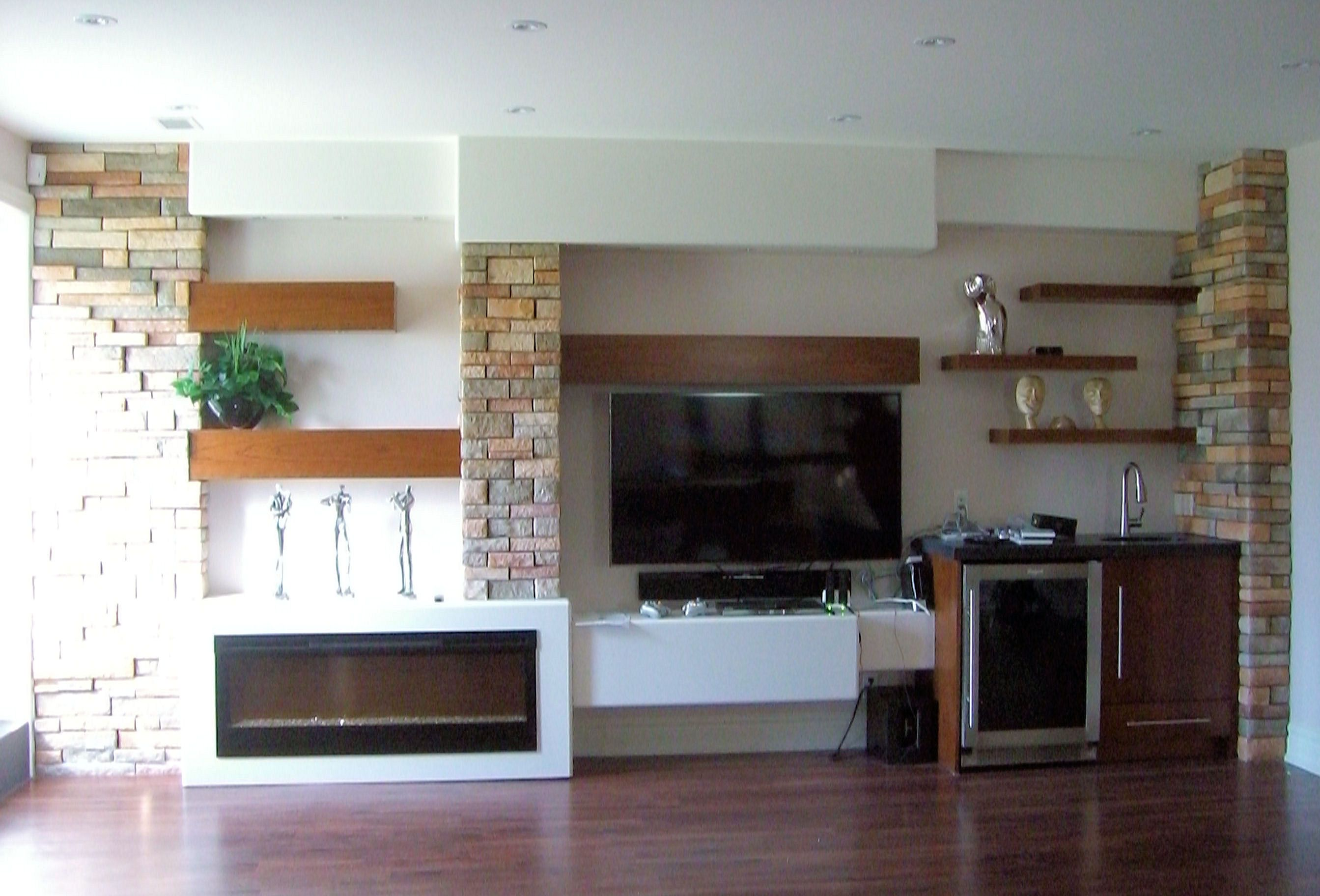 Extremely Cool White Floating Fireplace Cabinet With Open Shelves ...
