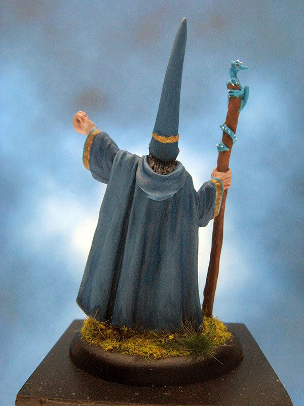 painted reaper miniature darius the blue wizard