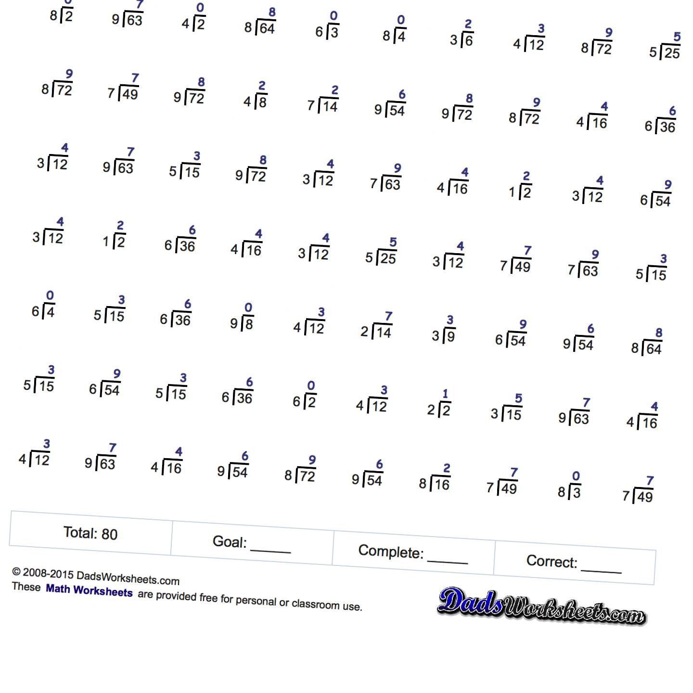 Free Printable Math Worksheets at DadsWorksheets.com ...