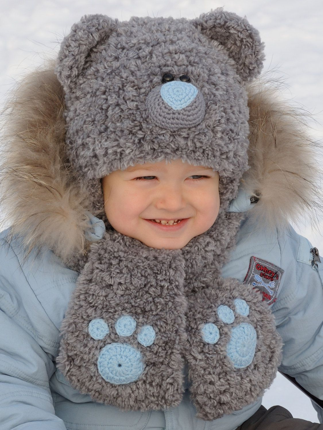 5561e75c744855 Winter Kids Hats kids bear costume Baby Bear Hat Teddy Bear Hat ...