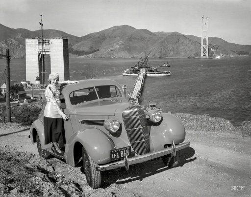 San Francisco 1935 Oldsmobile Coupe And Golden Gate Bridge Under
