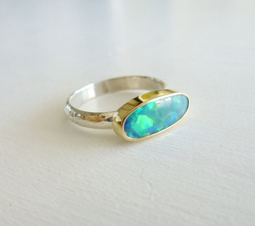 18k Gold Opal Ring With Iridescent Multicolor Opal Doublet Etsy Opal Ring Gold Sterling Silver Bands Opal Rings