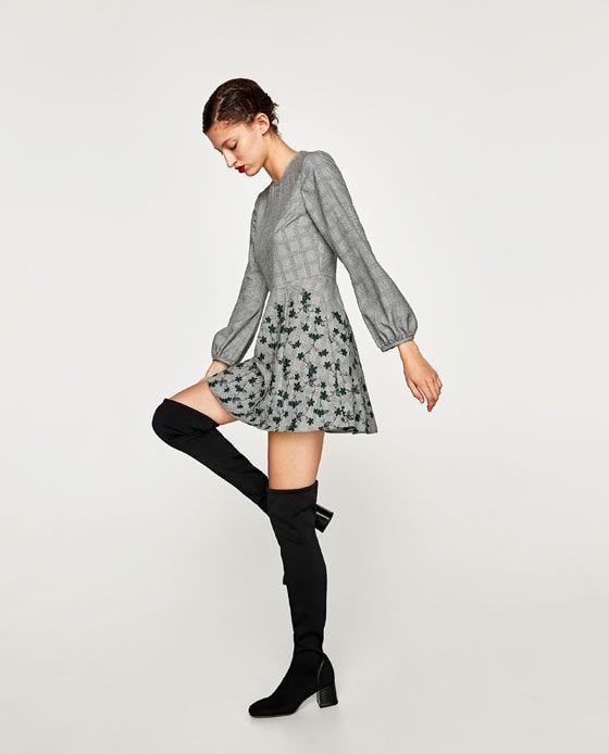 Zara Islemeli Kareli Mini Elbise Mini Elbiseler Kadin Olmak Moda Stilleri
