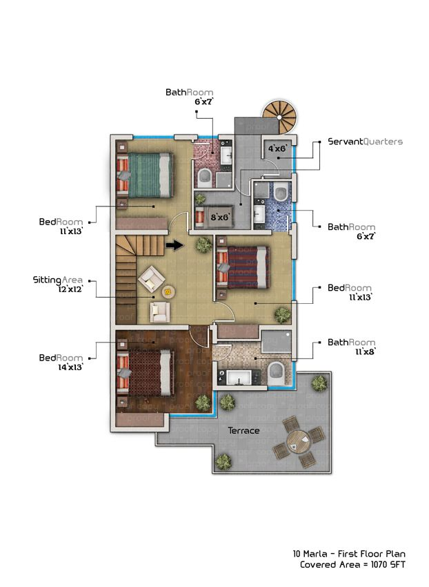 10 marla house plan with basement home plans pinterest for Room design map
