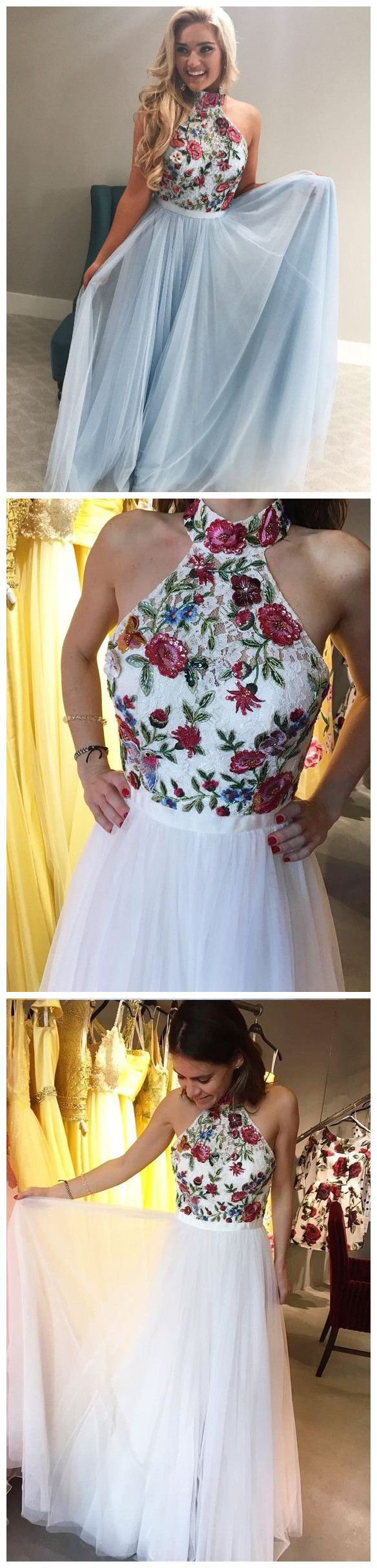 Aline prom dresses high neck floral lace cheap prom dressevening