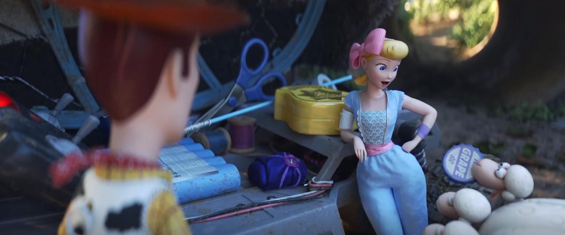 In Toy Story 4 2019 Bo Peep S Sheep Offer Her A Grape Soda Bottle Cap Introduced As A Pin In Up Toy Story Bo Peep Toy Story Bo Peep