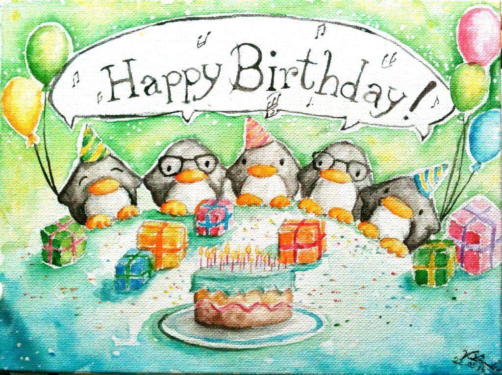 Открытки в день рождения с пингвинами, днем рождения