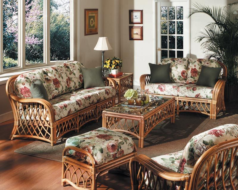 Country Living Room With Rattan Sofa And Floral Fabric