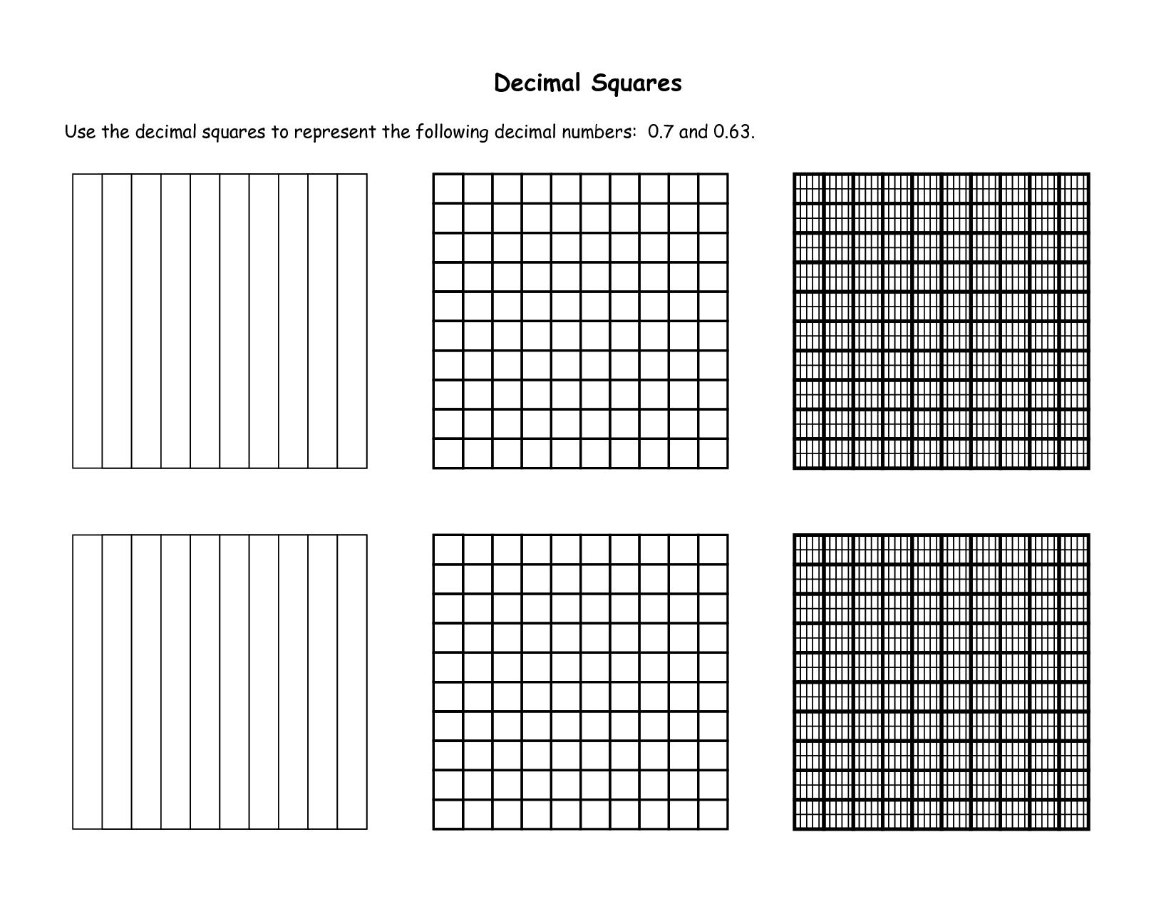 Decimal Squares Decimal Squares
