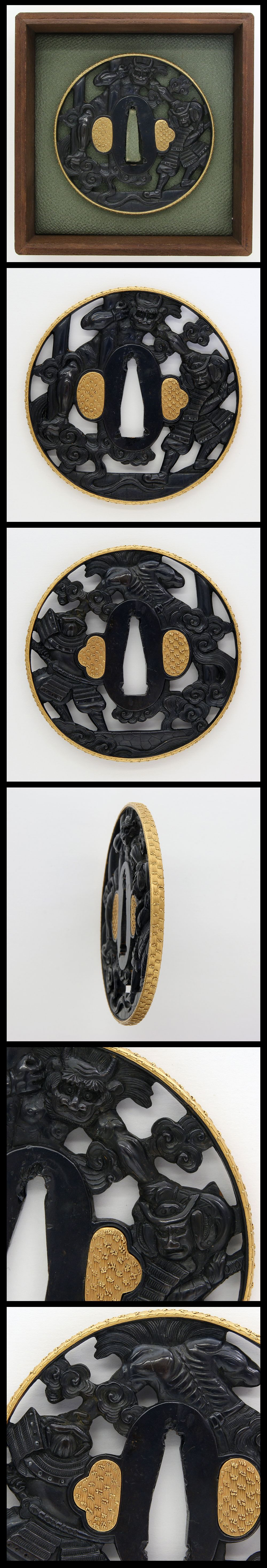 Edo Battle between Japanese demon 'Oni' and Watanabe Tsuna at Rashomon is engraved on Shakudo Tsuba. Rim is inlaid with gold.