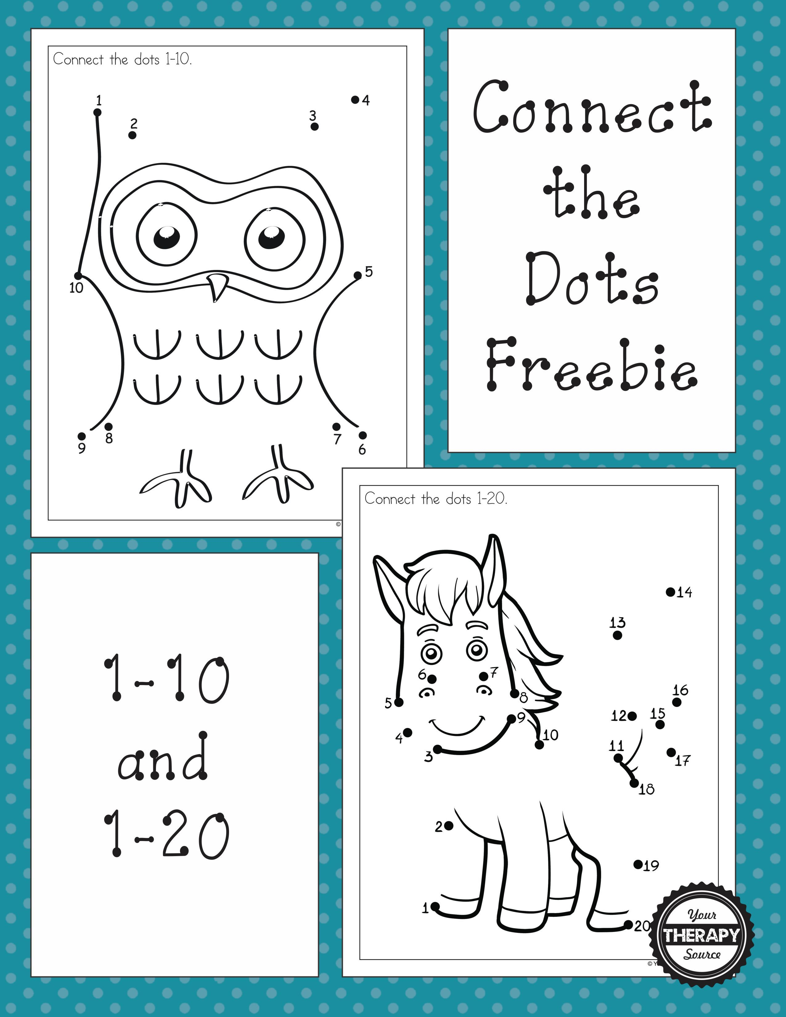 Dot to dot freebies for numbers 1 10 and 1 20 these connect the dot puzzles encourage visual motor figure ground and visual closure skills