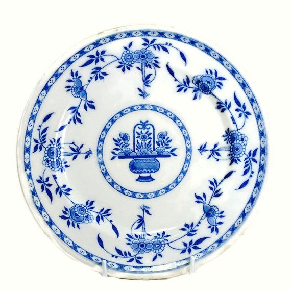 1870s Antique Minton Blue Delft 9\  Dinner Plate - for sale US$28.00 at FeltersCottage  sc 1 st  Pinterest & Antique Minton Blue Delft Dinner Plate 1870s - 9\