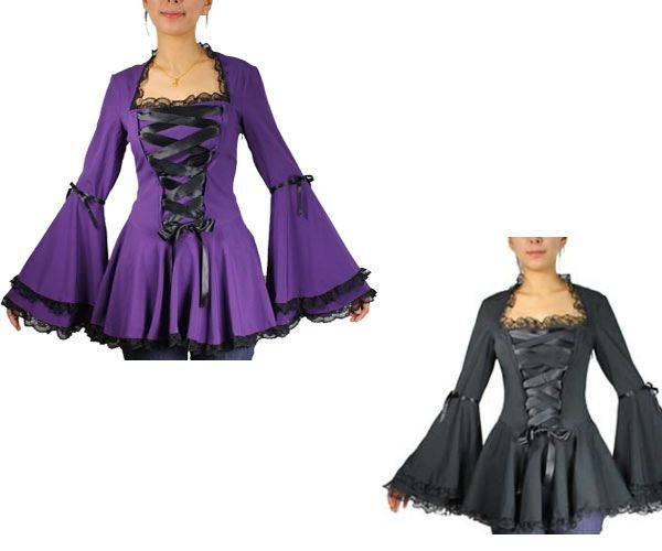 This beautiful top has wide lacing on the front. The full angel sleeves are double cuffed with a small ribbon below the elbow on the upper forearm. The bustier, full double cuffed sleeves and full skirting are all edged in lace. Side zipper. Approx length 28 inches.  POLYESTER/SPANDEX. MACHINE WASH SEPARATELY/DO NOT BLEACH/WARM IRON/DO NOT TUMBLE DRY