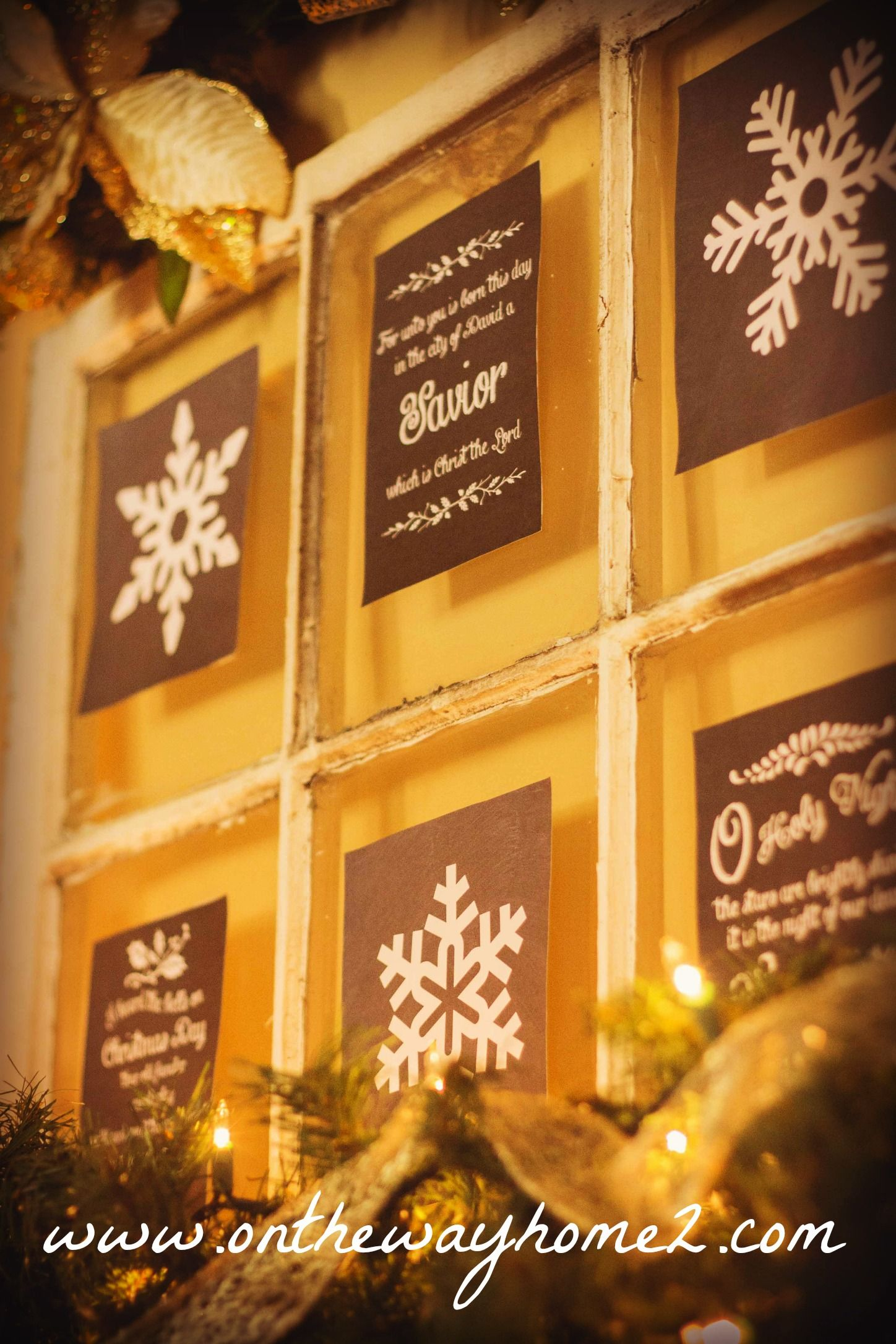 Holiday Home Tour by On The Way Home Chalkboard window pane decorated for Christmas!