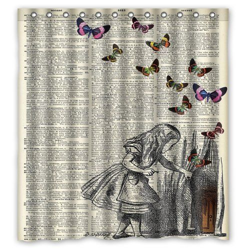 Alice In Wonderland Christmas Gift Design Of Waterproof Bathroom Fabric Shower Curtain With 12hooks Fabric Shower Curtains Retro Curtains Shower Curtain Decor