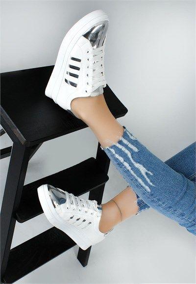 Ysf Beyaz Cilt Gumus Rugan Detayli Bayan Spor Ayakkabi Leather Sneakers Women Trending Womens Shoes Sport Shoes Women