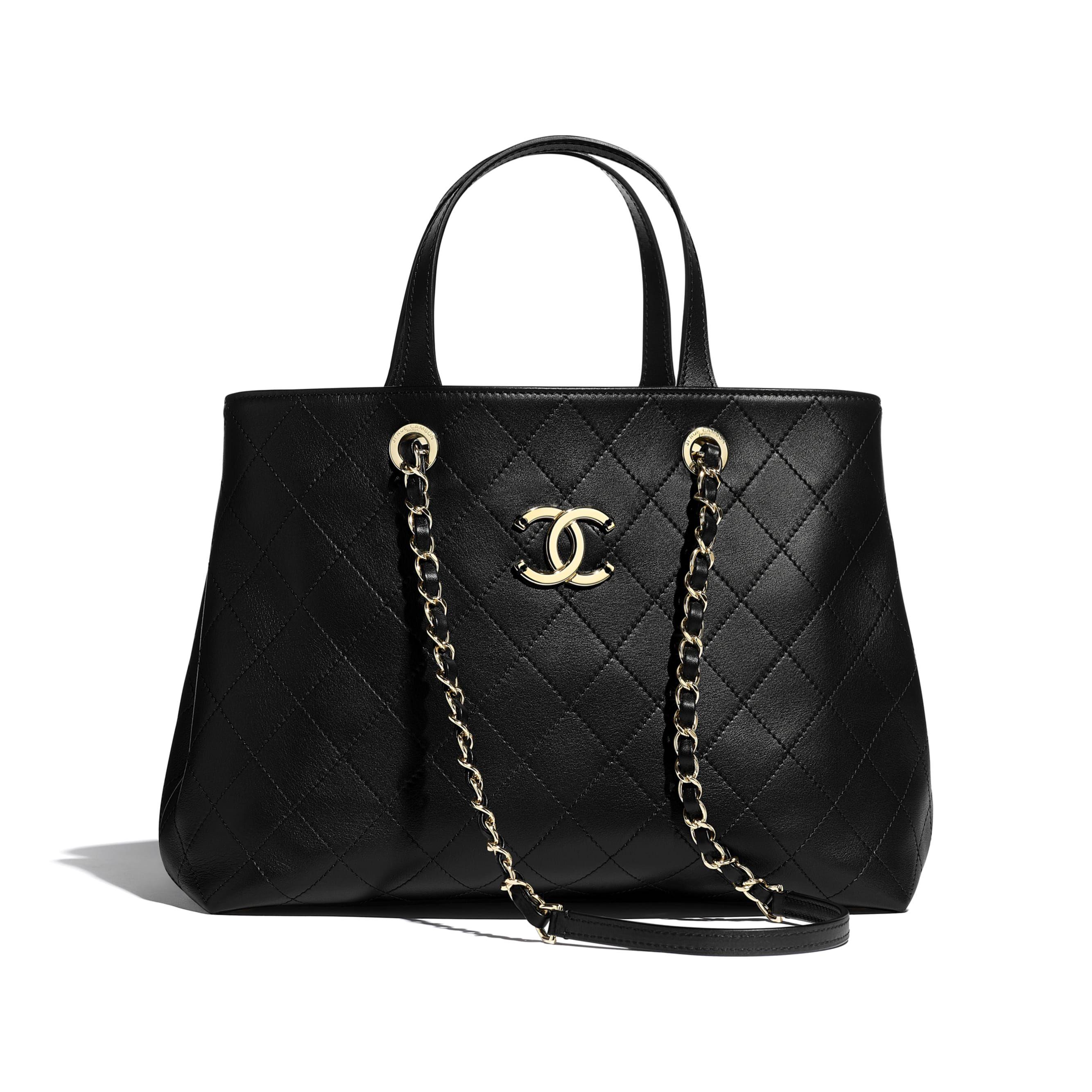 Bolso de compras pequeño en piel de becerro y metal dorado negro | CHANEL