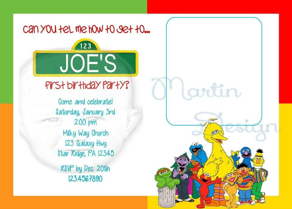 Sesame Street birthday party invitation. Picture goes in square ...