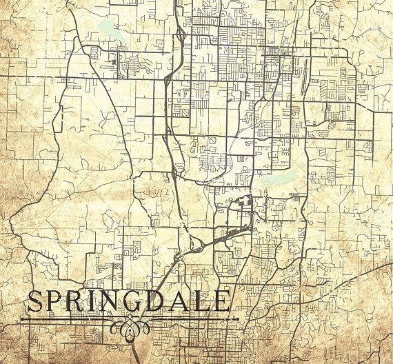 SPRINGDALE AR Canvas Print Arkansas Ar Vintage map City Map ...