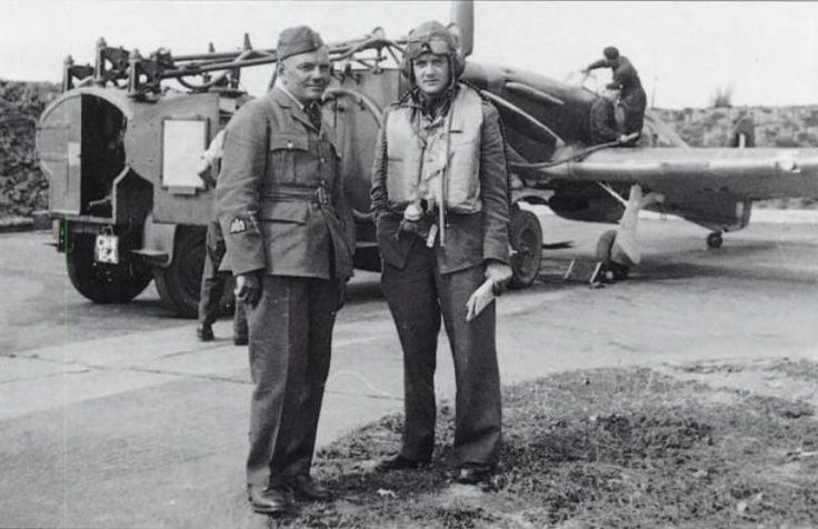 P/O Jan Zumbach (right) of No 303 Squadron RAF poses with the ...