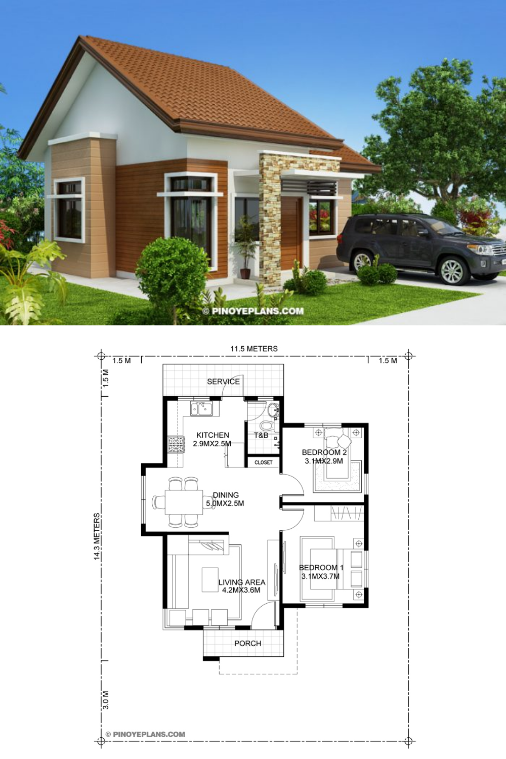 Katrina Stylish Two Bedroom House Plan Pinoy Eplans In 2020 Modern Bungalow House Two Bedroom House House Plans