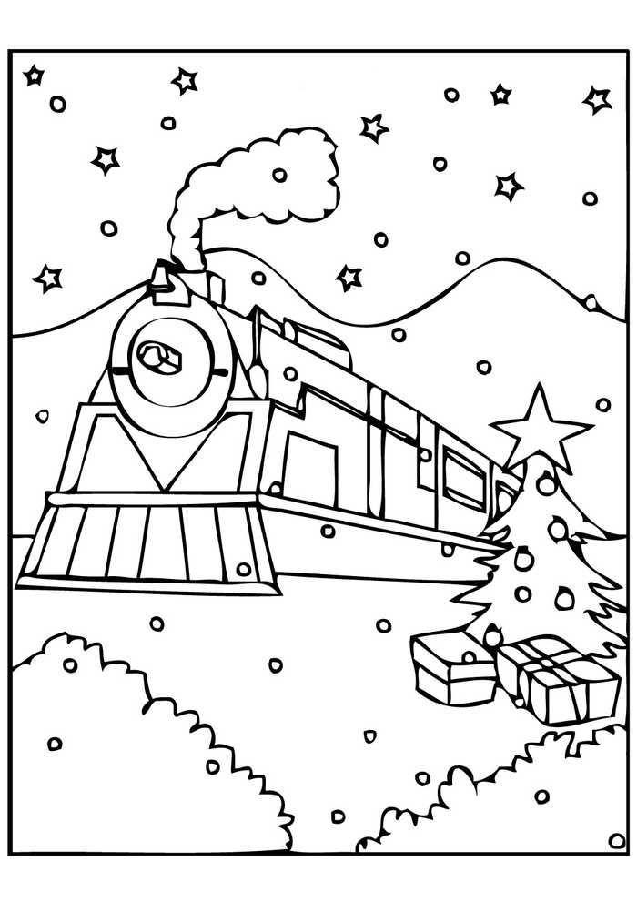 Polar Express Christmas Train Coloring Page Polar Express