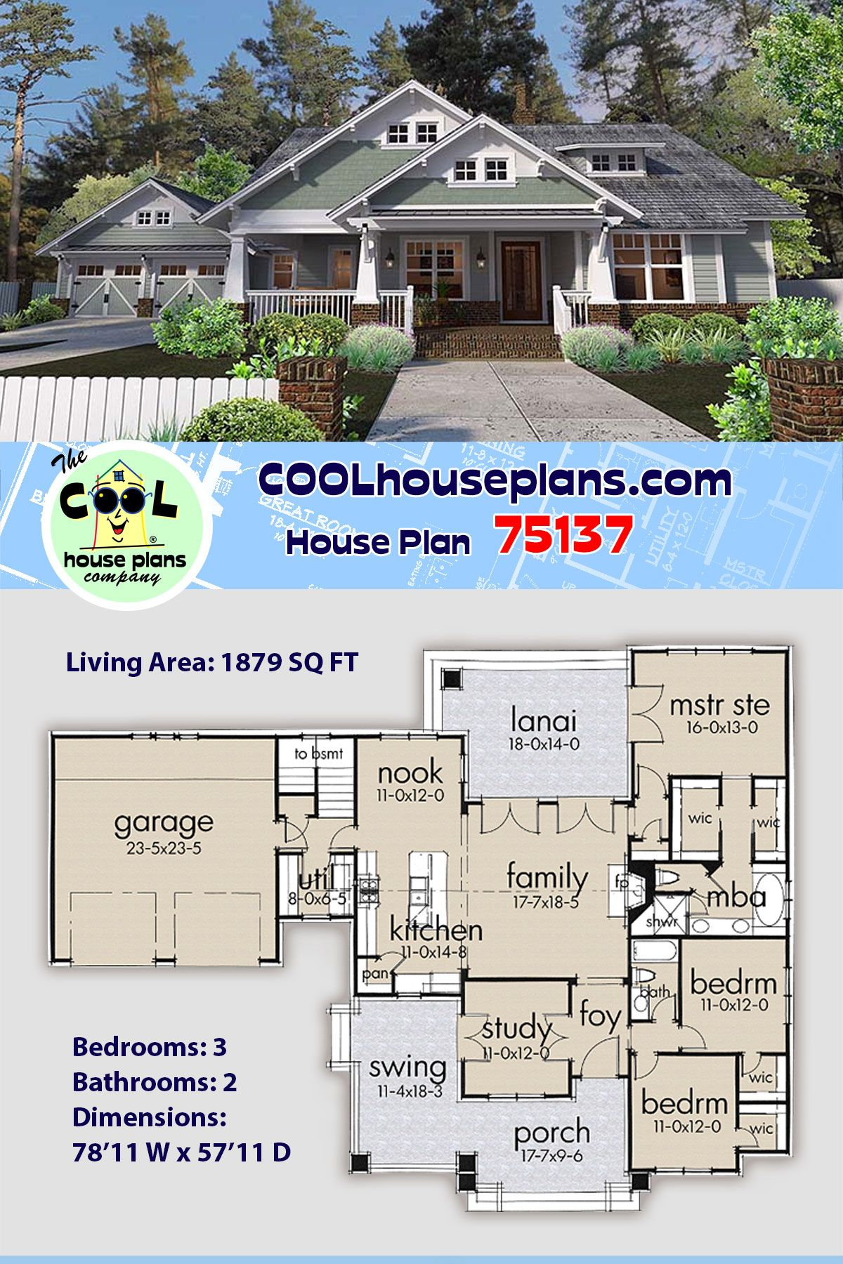3 Bedroom Craftsman Bungalow Style Home Plan At Cool House Plans Craftsman Style House Plans House Plans Craftsman House Plans