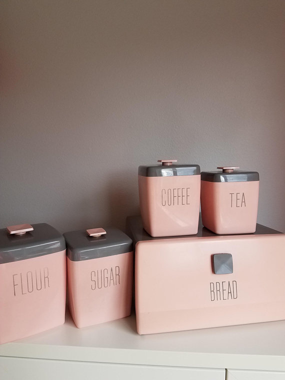 Nally Ware Vintage Pink Gray Kitchen Canister Set With Breadbox