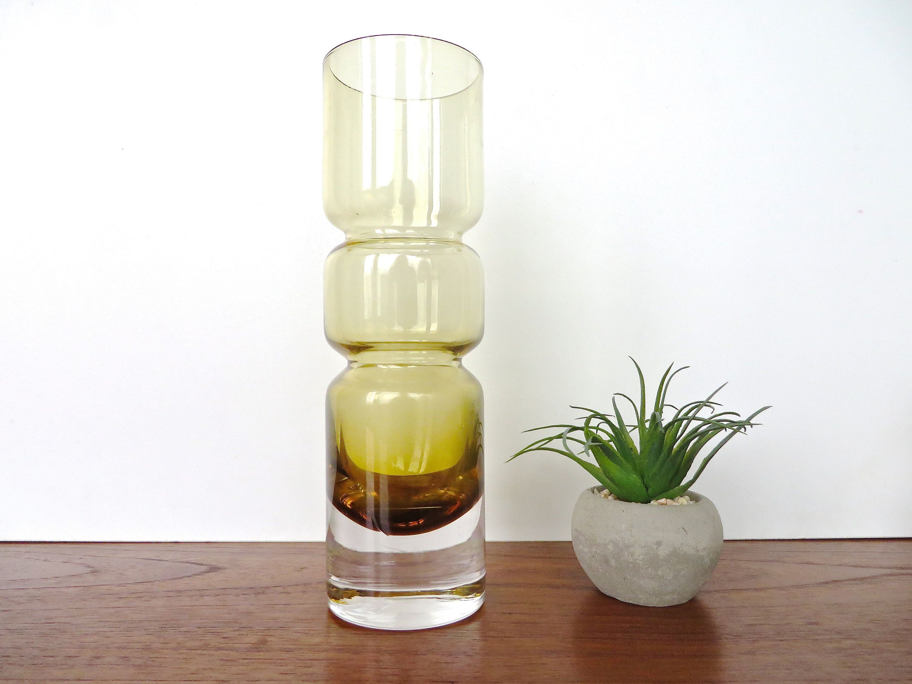 Vintage Scandinavian Hooped Glass Vase 9 Amber Glass Art Vase Mid Century Modern Glass Vase By Hervintag Modern Glass Vases Modern Glass Modern Wall Stencil