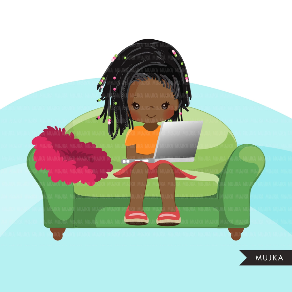 Homeschooling Girls Clipart Black Girl Sitting With Laptop Education Sofa Reading Home Study Graphics Commercial Use Png Clip Art Girl Clipart Clip Art Digital Sticker
