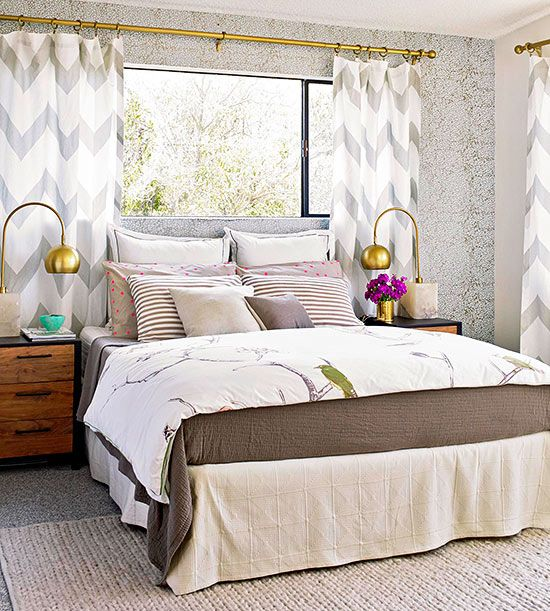 A pattern-filled master bedroom