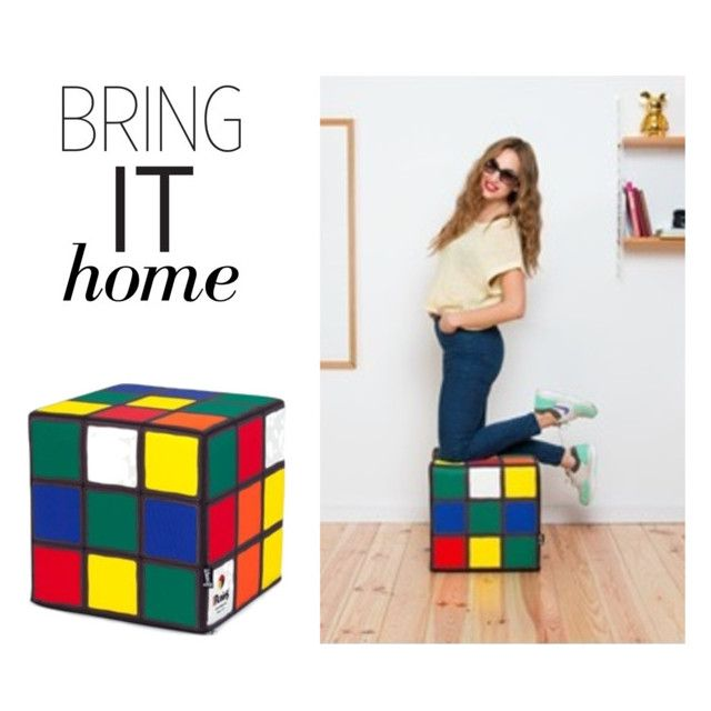 """Bring It Home: Rubik's Bean Bag"" by polyvore-editorial ❤ liked on Polyvore featuring interior, interiors, interior design, home, home decor, interior decorating, Woouf! and bringithome"