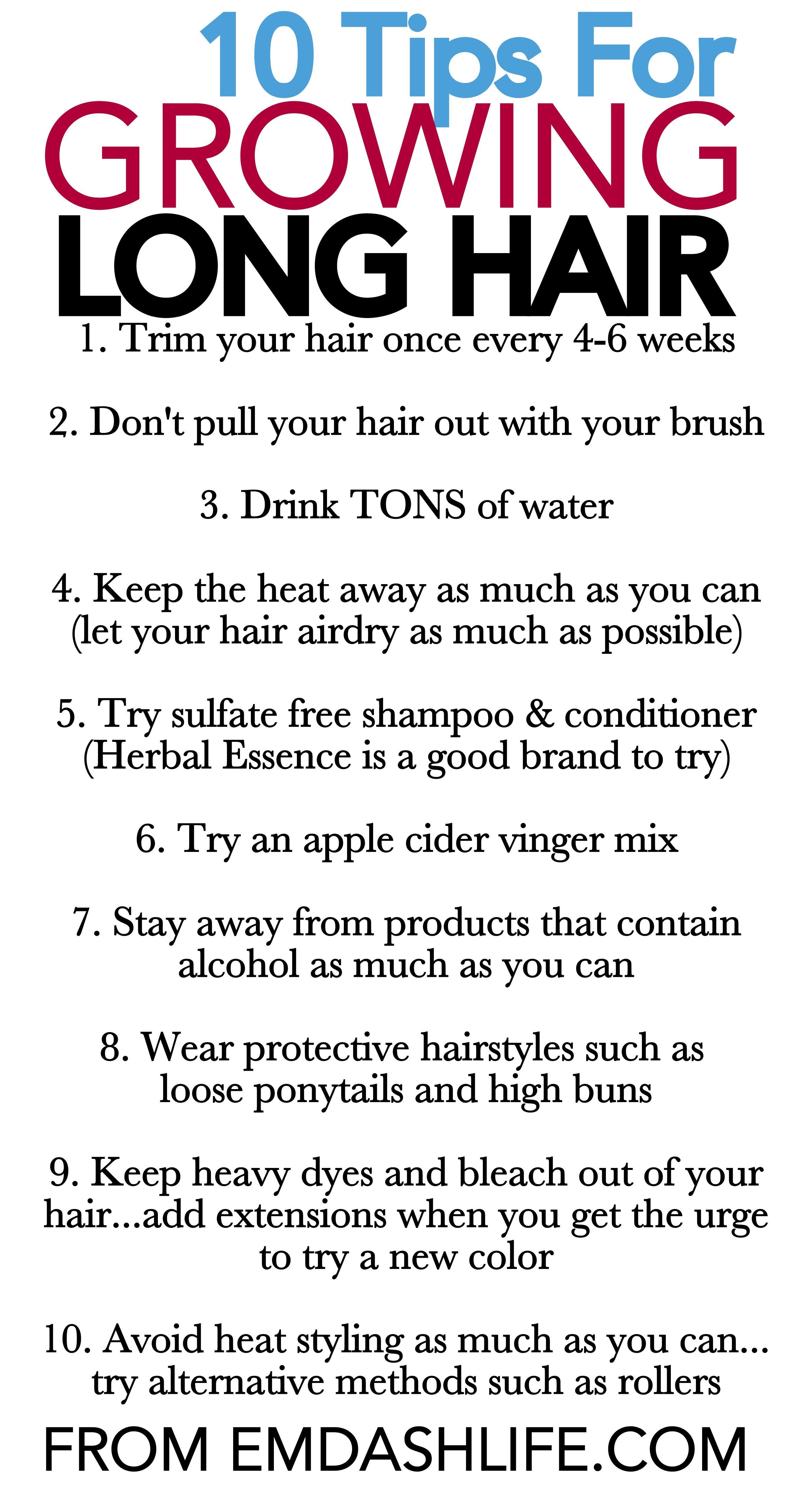 10 Tips For Growing Long Hair Grow Long Hair Natural Hair Styles Hair Hacks