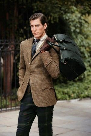 Ralph Lauren Tattersall Shirt & Military Inspired Tweed Coat with Metal Buttons