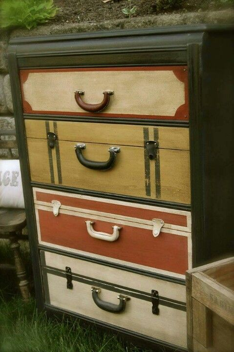 TOO CUTE! A plain dresser jazzed up with paint and suitcase hardware ...