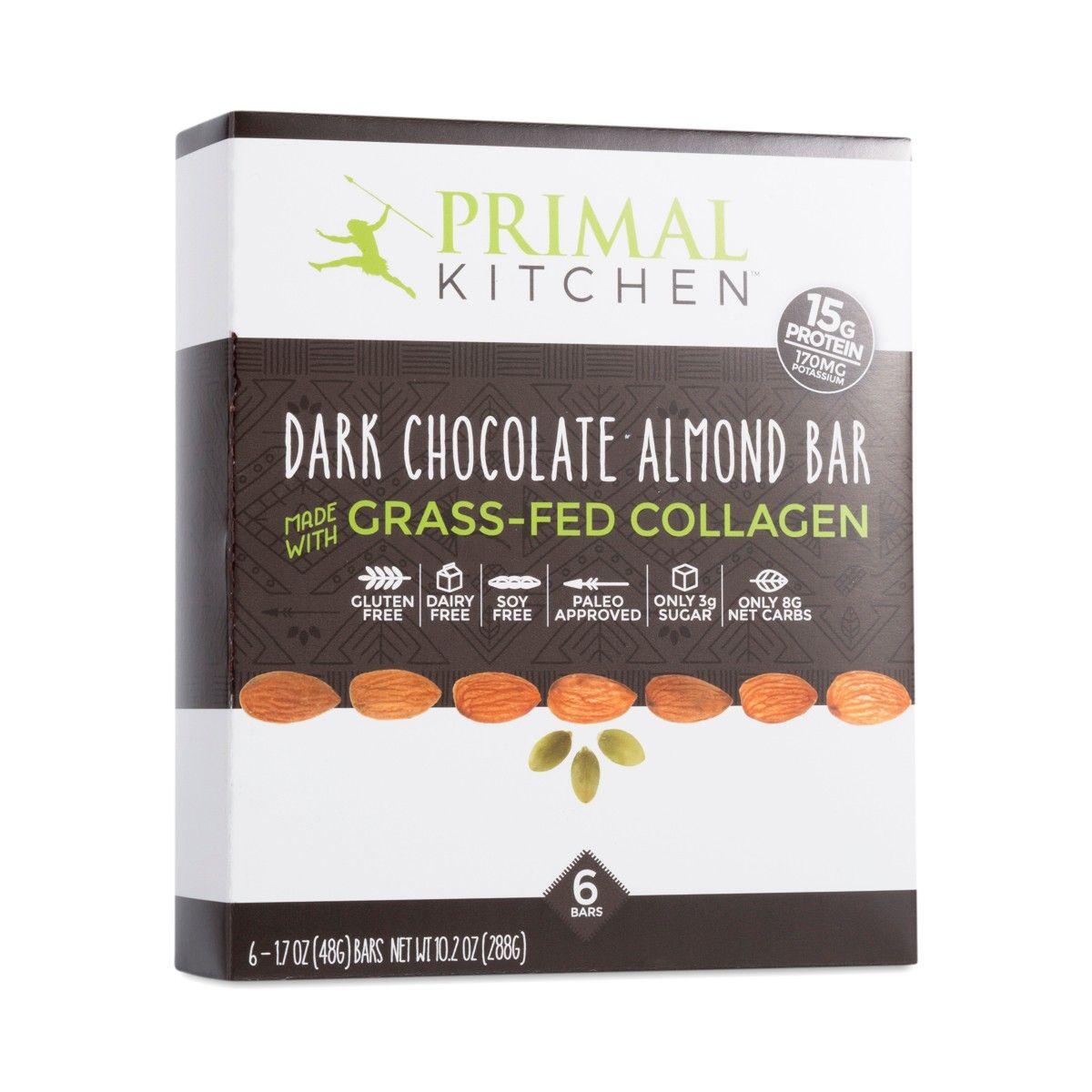 Dark Chocolate Almond Bar With Grass Fed Collagen 6 Pack Almond Bars Dark Chocolate Almonds Primal Kitchen