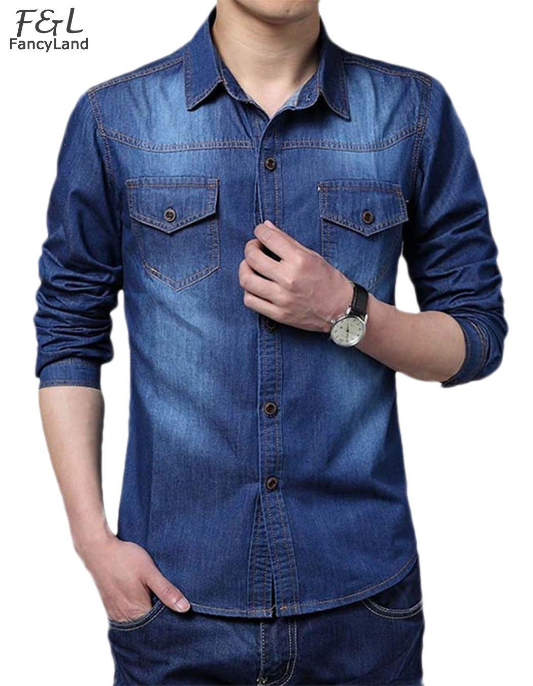 97b6f3ce81cb0 Camisa Azul Hombre · Estilo De Hombre · Nuevo 2015 Hot Venta de Moda Para Hombre  Delgado Jean Larga Delgada Dril de algodón de
