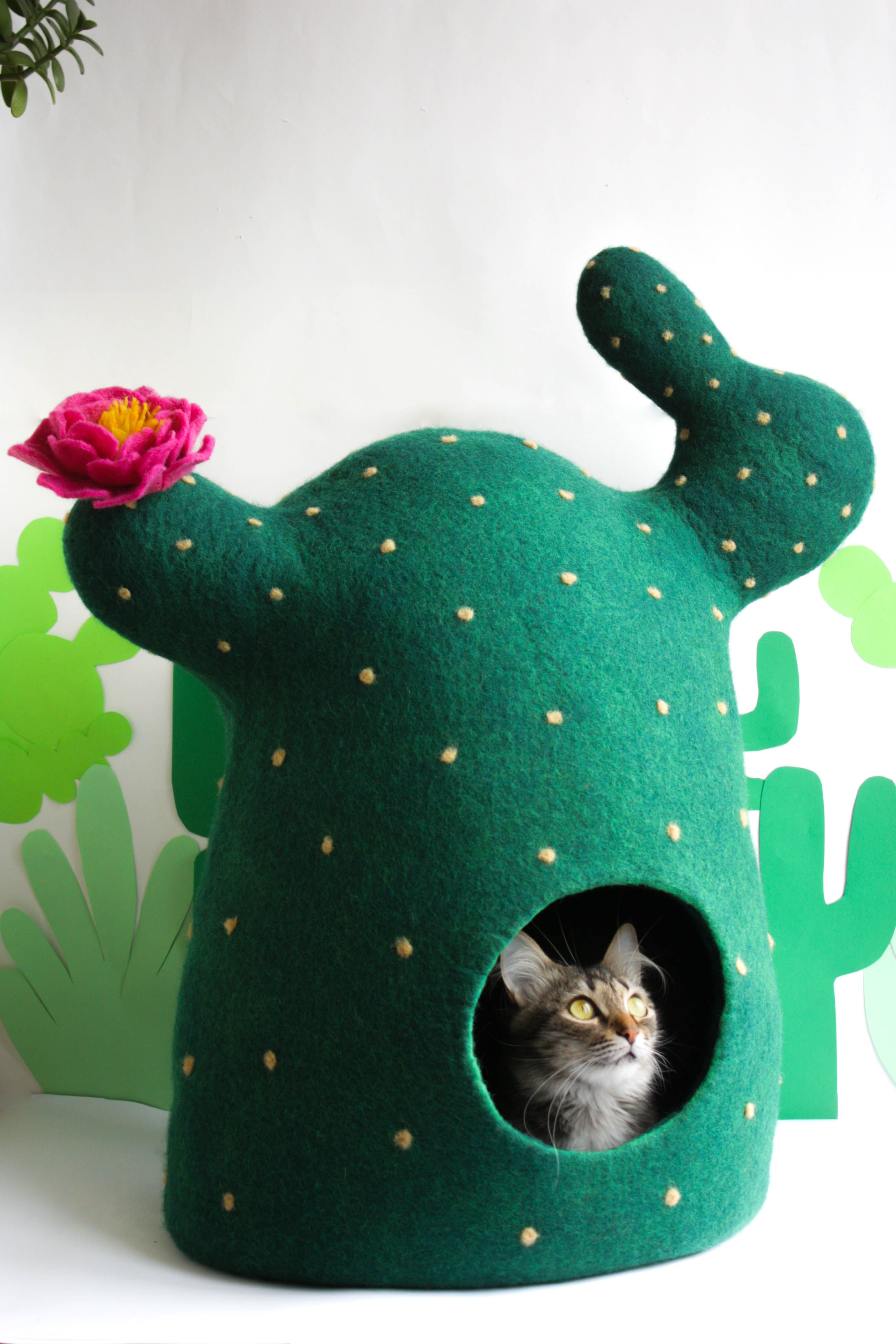 Cat bed, cat cave, cat house Cactus, felted pet bed, gift