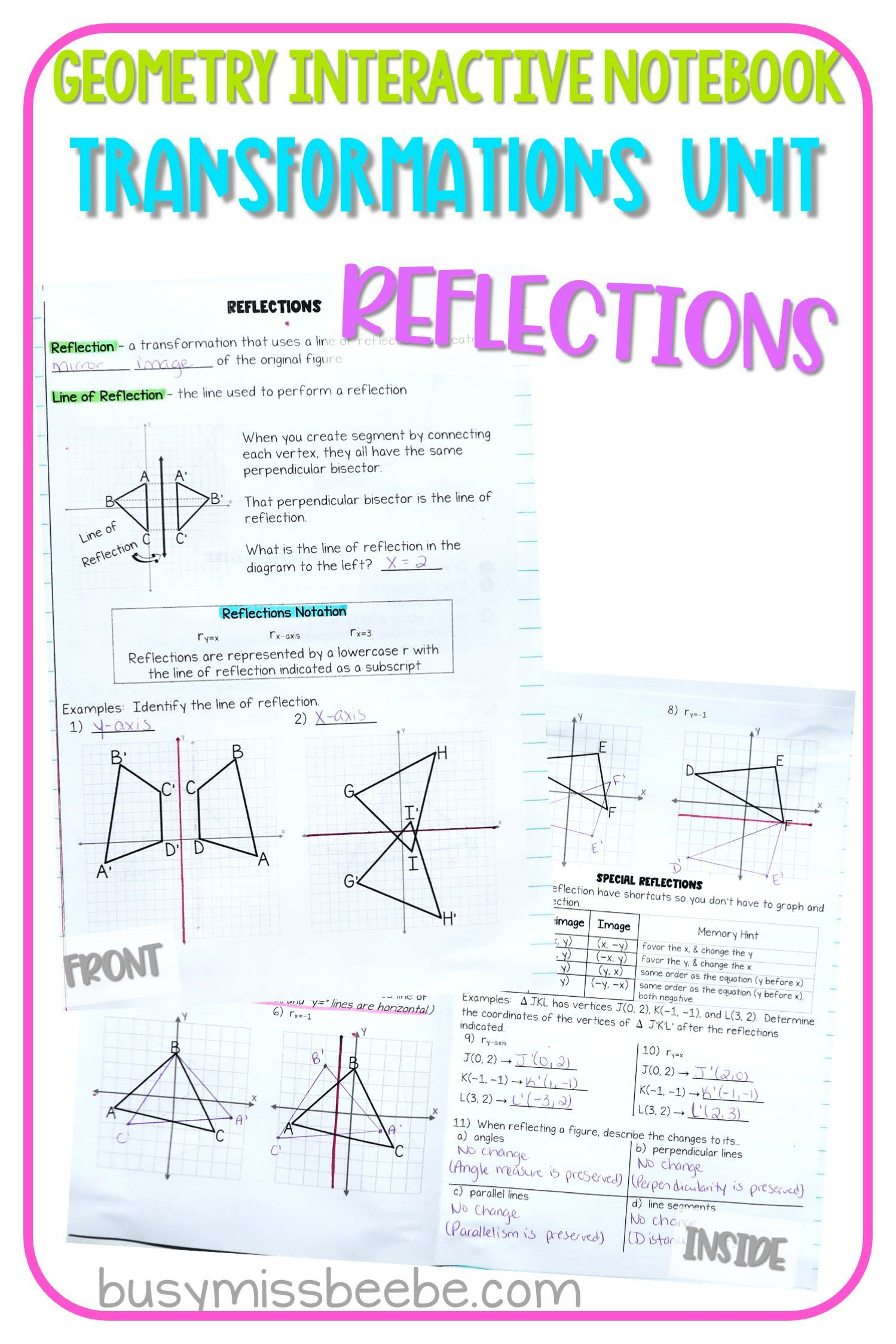 Transformations Unit Reflections Geometry Interactive Notebook Geometry Interactive Notebook Interactive Notebooks Reflection Geometry [ 2249 x 1499 Pixel ]