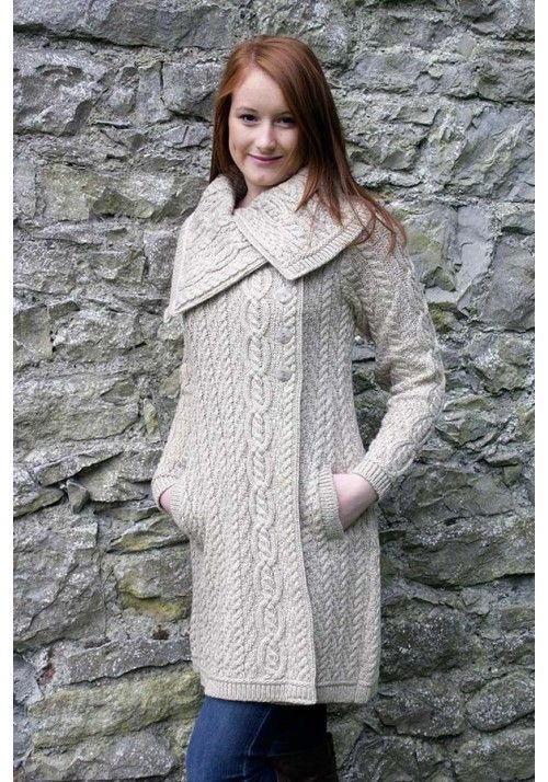 Chunky Collar Coat With Buttons X4416 Inspiration Only To Knit