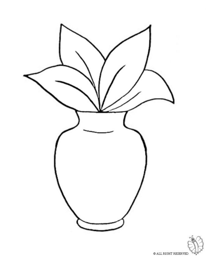 Disegno Di Vaso Con Pianta Da Colorare Per Bambini Gratis