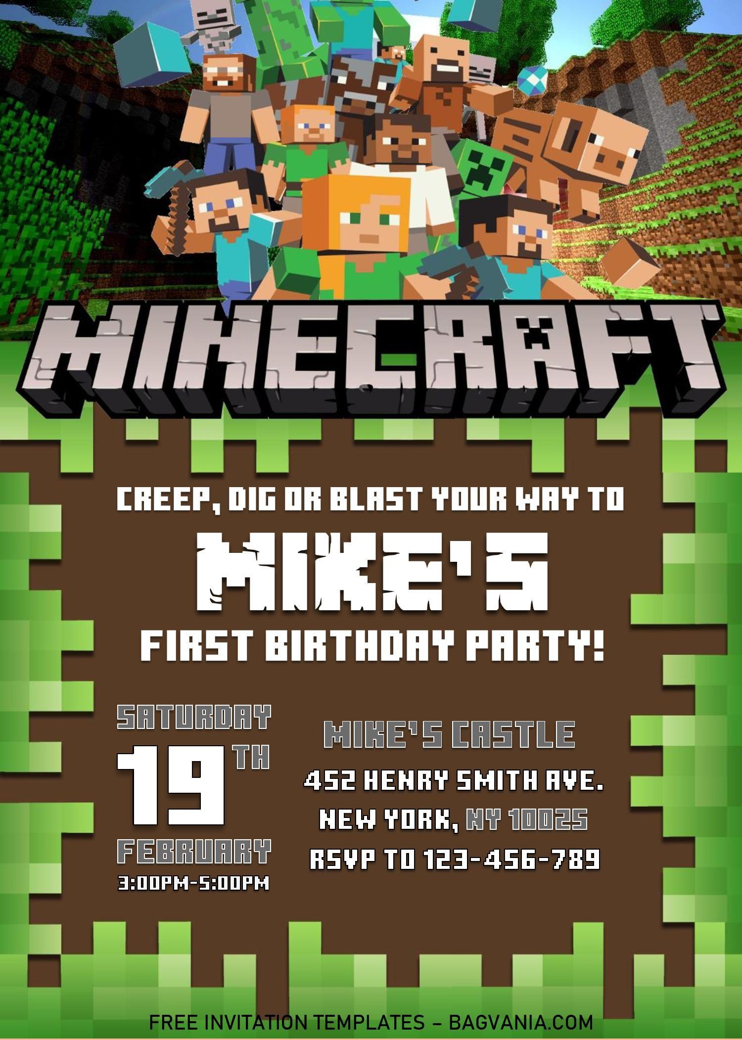 Minecraft Birthday Invitation Templates Editable With Ms Word Minecraft Birthday Invitations Minecraft Birthday Minecraft Party Invitations Minecraft birthday invitation template free