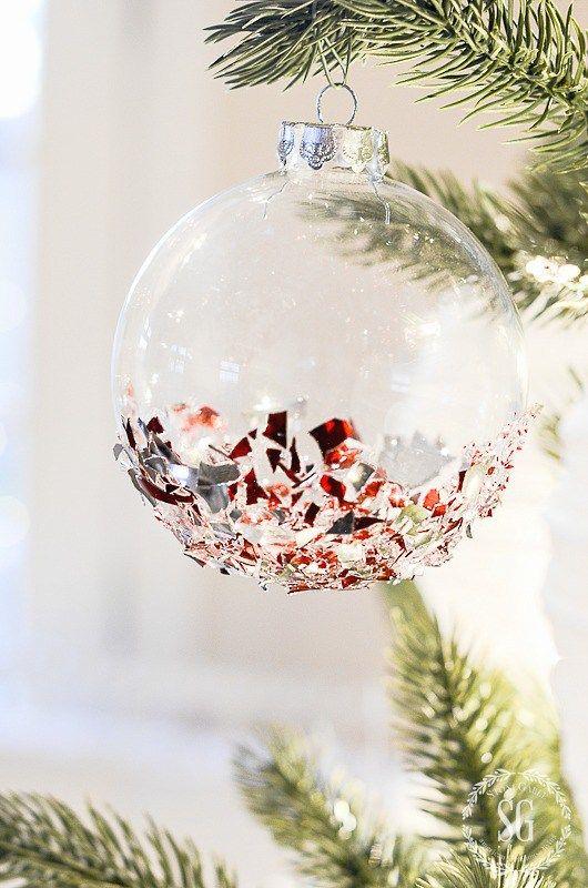 Broken Glass Glitter Ornaments Stonegable Broken Glass Crafts Glass Crafts Diy Glitter Ornaments