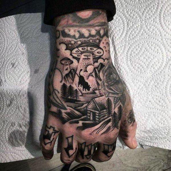Top 63 Alien Tattoo Ideas 2020 Inspiration Guide Hand Tattoos For Guys Hand Tattoos Alien Tattoo