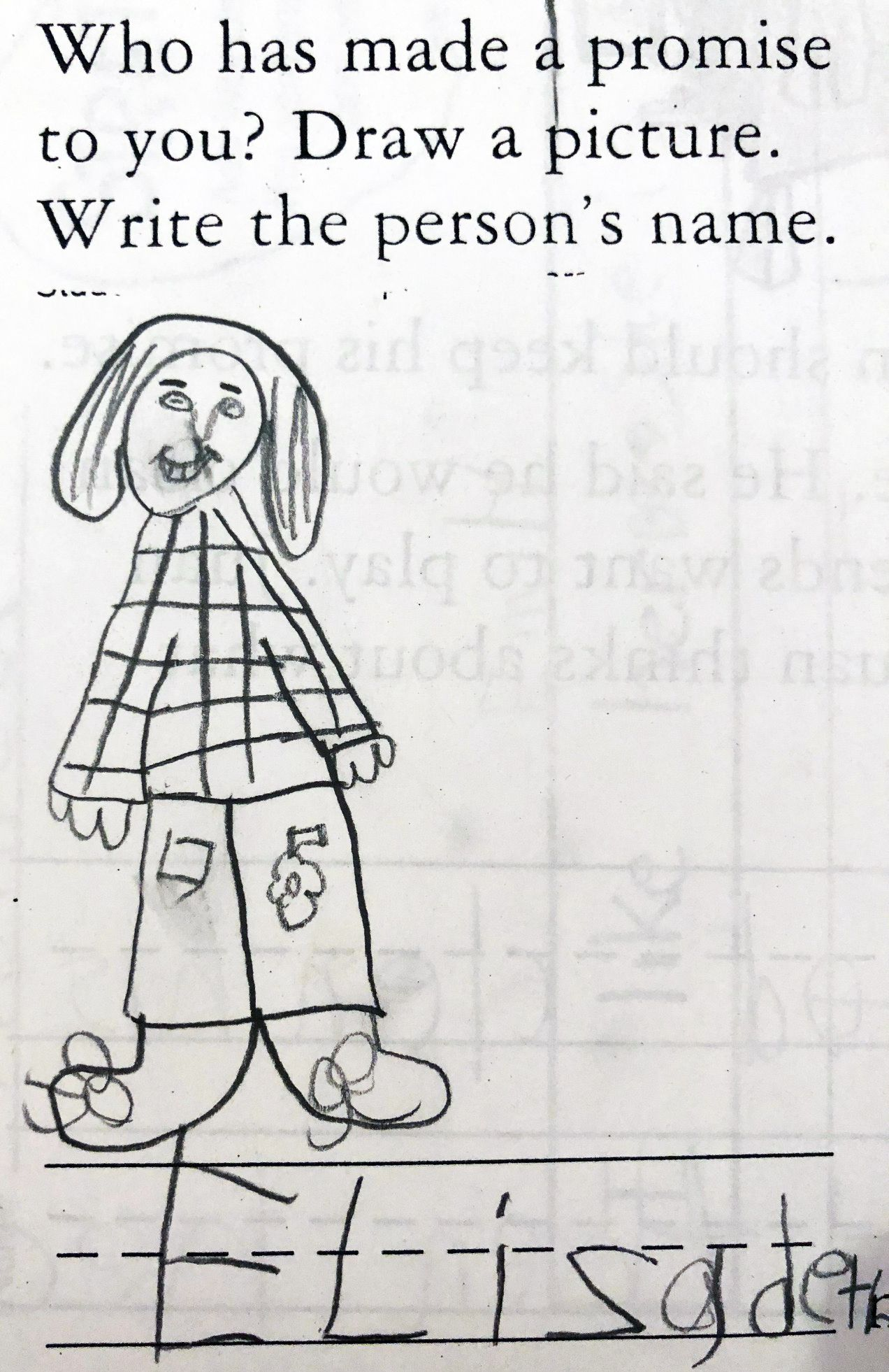 Elizabeth Age 6 Pencil On Printed Worksheet 4 By
