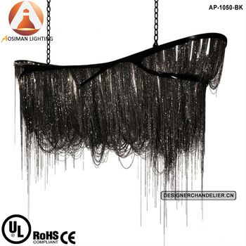 Modern Black Chain Chandelier Suspension Light for Mansion Hotel Project/ Art Chain Luster Black Dragon