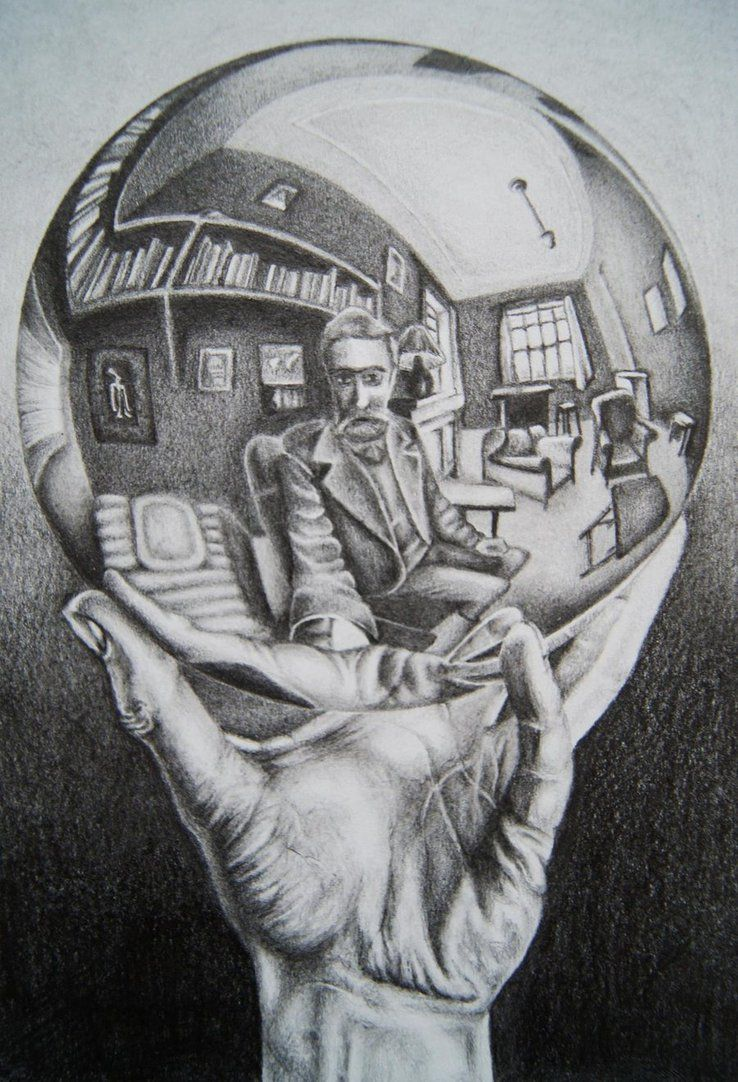 M C Escher  /'Hand with reflecting sphere/' FINE ART PRINT Escher Surreal Art